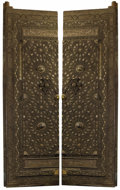 Sculpture, A Pair of Monumental Mamluk-Revival Inlaid Bronze Doors. . Unknown maker, Cairo, Egypt. Circa 1905. Bronze over wood with si...