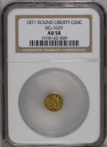 California Fractional Gold: , 1871 50C Liberty Round 50 Cents, BG-1029, High R.4, AU58 NGC. PCGSPopulation (8/18). (#10858)...