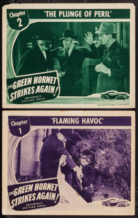 "The Green Hornet Strikes Again (Universal, 1941). Lobby Cards (2) (11"" X 14""). Chapter 1 -- ""Flaming Havo..."