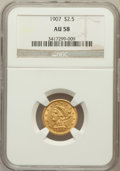 Liberty Quarter Eagles: , 1907 $2 1/2 AU58 NGC. NGC Census: (207/8198). PCGS Population(402/8655). Mintage: 336,200. Numismedia Wsl. Price for probl...