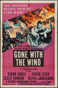 """Gone with the Wind (MGM, R-1954). One Sheet (27"""" X 41""""). Academy Award Winners"""