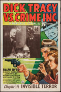 "Movie Posters:Serial, Dick Tracy vs. Crime Inc. (Republic, 1941). One Sheet (27"" X 41"") Chapter 14 -- ""Invisible Terror."" Serial.. ..."