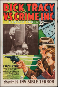 "Dick Tracy vs. Crime Inc. (Republic, 1941). One Sheet (27"" X 41"") Chapter 14 -- ""Invisible Terror.""..."