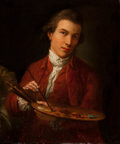 Fine Art - Painting, European, SCHOOL OF SIR JOSHUA REYNOLDS (Late 18th/Early 19th Century).Portrait of an Artistic Gentleman. Oil on canvas. 23 x 20...