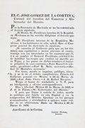 Miscellaneous:Ephemera, [The Alamo]. José Gomez de la Cortina Broadside....
