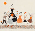 Works on Paper, LORRAINE FOX (American, 1922-1976). Kids at Play, magazine story illustration, August 1954. Pen and gouache on boa...