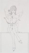 Pin-up and Glamour Art, ROBERT MCGINNIS (American, b. 1926). Seated Female Cupid.Pencil on paper. 9 x 5 in. (image). Not signed. ...