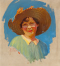 Mainstream Illustration, RUSSELL SAMBROOK (American, 1891-1956). Portrait of a Girl.Oil on canvas. 20 x 18 in.. Signed lower left. ...