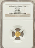 California Fractional Gold: , 1860 25C Liberty Octagonal 25 Cents, BG-731, Low R.5, AU58 NGC. NGCCensus: (3/7). PCGS Population (9/20). ...