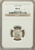 Barber Dimes: , 1910-S 10C MS62 NGC. NGC Census: (5/28). PCGS Population (9/58).Mintage: 1,240,000. Numismedia Wsl. Price for problem free...