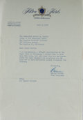 Autographs:Celebrities, Barron Hilton, American Hotel Heir. Typed Letter Signed. Overall fine....