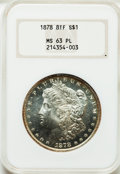 Morgan Dollars, 1878 8TF $1 MS63 Prooflike NGC. NGC Census: (283/157). PCGSPopulation (238/132). Numismedia Wsl. Price for problem free N...