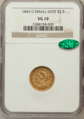 Liberty Quarter Eagles: , 1843-O $2 1/2 Small Date, Crosslet 4 VG10 NGC. CAC. NGC Census:(1/690). PCGS Population (0/319). Mintage: 288,002. Numisme...