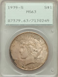 Peace Dollars: , 1935-S $1 MS63 PCGS. PCGS Population (1058/2132). NGC Census:(605/1375). Mintage: 1,964,000. Numismedia Wsl. Price for pro...