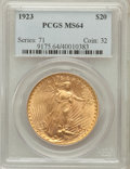Saint-Gaudens Double Eagles: , 1923 $20 MS64 PCGS. PCGS Population (3619/393). NGC Census:(2411/120). Mintage: 566,000. Numismedia Wsl. Price for problem...