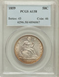 Seated Half Dollars: , 1859 50C AU58 PCGS. PCGS Population (13/45). NGC Census: (21/60).Mintage: 747,200. Numismedia Wsl. Price for problem free ...