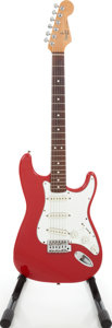 Musical Instruments:Electric Guitars, 1989 Fender American Squire Red Solid Body Electric Guitar, SerialE905564. ...