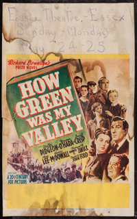 "How Green Was My Valley (20th Century Fox, 1941). Window Card (13.5"" X 22""). Drama"