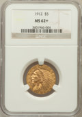 Indian Half Eagles: , 1912 $5 MS62+ NGC. NGC Census: (3640/1470). PCGS Population(2683/1725). Mintage: 790,000. Numismedia Wsl. Price for proble...