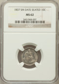Seated Dimes, 1837 10C No Stars, Small Date MS62 NGC. Fortin-103a....