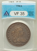 Early Dollars, 1799 $1 7x6 Stars VF35 ANACS. B-11, BB-161, R.3....