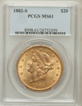 Liberty Double Eagles: , 1882-S $20 MS61 PCGS. PCGS Population (322/361). NGC Census:(396/177). Mintage: 1,125,000. Numismedia Wsl. Price for probl...