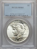 Peace Dollars: , 1935 $1 MS64 PCGS. PCGS Population (2186/926). NGC Census:(1970/801). Mintage: 1,576,000. Numismedia Wsl. Price for proble...