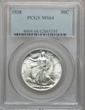 Walking Liberty Half Dollars: , 1938 50C MS64 PCGS. PCGS Population (1004/1751). NGC Census:(619/1065). Mintage: 4,118,152. Numismedia Wsl. Price for prob...