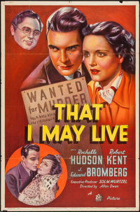 "That I May Live (20th Century Fox, 1937). One Sheet (27"" X 41""). Crime"