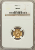 Gold Dollars: , 1886 G$1 MS60 NGC. NGC Census: (7/237). PCGS Population (6/325).Mintage: 5,000. Numismedia Wsl. Price for problem free NGC...