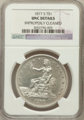 Trade Dollars: , 1877-S T$1 -- Improperly Cleaned -- NGC Details. Unc. NGC Census:(38/665). PCGS Population (51/717). Mintage: 9,519,000. N...