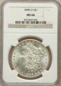 Morgan Dollars: , 1898-O $1 MS66 NGC. NGC Census: (1855/176). PCGS Population(1840/152). Mintage: 4,440,000. Numismedia Wsl. Price for probl...