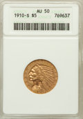 Indian Half Eagles: , 1910-S $5 AU50 ANACS. NGC Census: (40/1177). PCGS Population(74/608). Mintage: 770,200. Numismedia Wsl. Price for problem ...