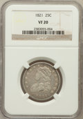 Bust Quarters: , 1821 25C VF20 NGC. NGC Census: (5/173). PCGS Population (22/180).Mintage: 216,851. Numismedia Wsl. Price for problem free ...