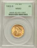 Liberty Half Eagles: , 1902-S $5 MS62 PCGS. PCGS Population (521/1204). NGC Census:(626/1176). Mintage: 939,000. Numismedia Wsl. Price for proble...