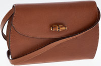 Gucci Brown Leather Crossbody Bag with Bamboo Closure