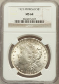Morgan Dollars: , 1921 $1 MS64 NGC. NGC Census: (36072/8395). PCGS Population(24041/4291). Mintage: 44,690,000. Numismedia Wsl. Price for pr...