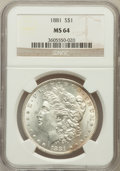 Morgan Dollars: , 1881 $1 MS64 NGC. NGC Census: (3887/685). PCGS Population(3940/1006). Mintage: 9,163,975. Numismedia Wsl. Price forproble...