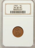 Indian Cents: , 1907 1C MS65 Red and Brown NGC. NGC Census: (189/7). PCGSPopulation (115/3). Mintage: 108,138,616. Numismedia Wsl. Pricef...