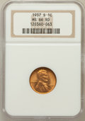 Lincoln Cents: , 1937-S 1C MS66 Red NGC. NGC Census: (705/374). PCGS Population(1190/155). Mintage: 34,500,000. Numismedia Wsl. Price for p...