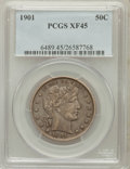 Barber Half Dollars: , 1901 50C XF45 PCGS. PCGS Population (28/282). NGC Census: (11/214).Mintage: 4,268,813. Numismedia Wsl. Price for problem f...