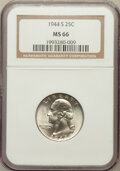 Washington Quarters: , 1944-S 25C MS66 NGC. NGC Census: (875/312). PCGS Population(677/87). Mintage: 12,560,000. Numismedia Wsl. Price for proble...