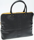 Luxury Accessories:Bags, Karl Lagerfeld Dark Navy Leather Overnight Bag with Yellow Accent....