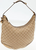 Luxury Accessories:Bags, Gucci Classic Monogram Canvas and Gold Leather Hobo Bag. ...