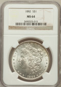 Morgan Dollars: , 1882 $1 MS64 NGC. NGC Census: (6311/1411). PCGS Population(4866/1473). Mintage: 11,101,100. Numismedia Wsl. Price for prob...