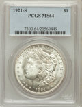Morgan Dollars: , 1921-S $1 MS64 PCGS. PCGS Population (3390/785). NGC Census:(4916/800). Mintage: 21,695,000. Numismedia Wsl. Price for pro...