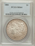 Morgan Dollars: , 1881 $1 MS64 PCGS. PCGS Population (3959/1015). NGC Census:(3900/681). Mintage: 9,163,975. Numismedia Wsl. Price for probl...