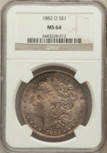 Morgan Dollars: , 1882-O $1 MS64 NGC. NGC Census: (5430/491). PCGS Population(5035/740). Mintage: 6,090,000. Numismedia Wsl. Price for probl...