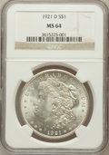 Morgan Dollars: , 1921-D $1 MS64 NGC. NGC Census: (5515/2203). PCGS Population(4836/1710). Mintage: 20,345,000. Numismedia Wsl. Price for pr...