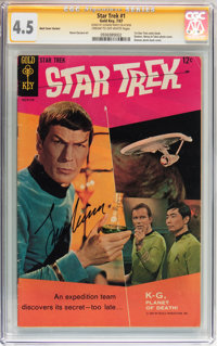 Star Trek #1 Back Cover Variant Signed by Leonard Nimoy (Gold Key, 1967) CGC Signature Series VG+ 4.5 Cream to off-white...
